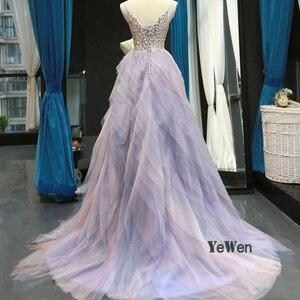 Image 4 - 2020 elegante vestido de noite feminino glitter gem deep v pilha dobre rendas sem mangas spagheti cinta formal festa vestidos de noite
