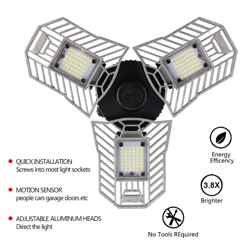 E27 Head Led Deformable Lamp 60W High Intensity 6000LM Radar Sensor LED Light Studio Garage Industrial Mining Warehouse Lighting