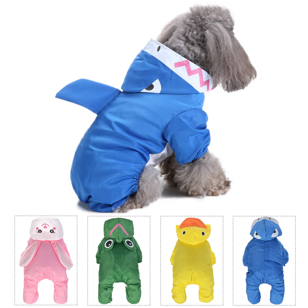 Dog Cat Raincoat Waterproof Hooded Dog Clothes Shark Rabbit Animal Series Rain Coat Cloak Rainy Snowy Pet Clothes For Dogs XS-XL