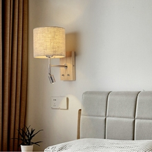 LukLoy Nordic Wooden LED Bed Wall Lamp Reading LED Wall Light Bedroom Living Room Aisle Balcony Simple Lighting Fixture Corridor