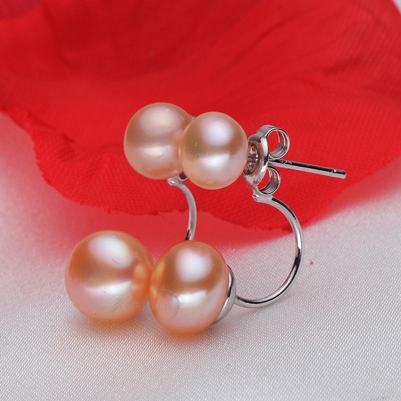Echte natürliche Doppel Perle Ohrringe 925 Sterling Silber Schmuck, - Edlen Schmuck - Foto 4