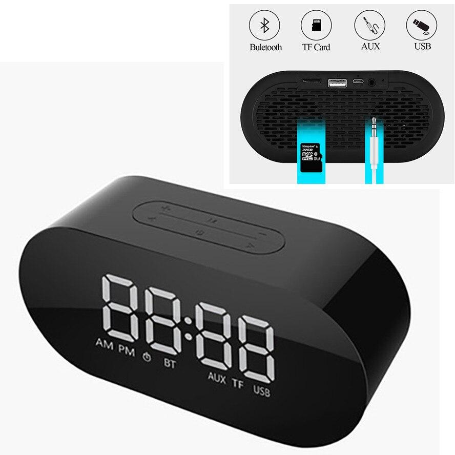 Wireless Bluetooth Speaker Overweight Subwoofer Mini Car Card Player Music Sound Box Speakers LED Alarm Clock Mirror