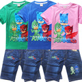 1 компл. летние детские мальчики девочки одежда Дети майка с коротким рукавом PJMASKS и собака + короткие джинсы брюки лето мальчик девочка набор
