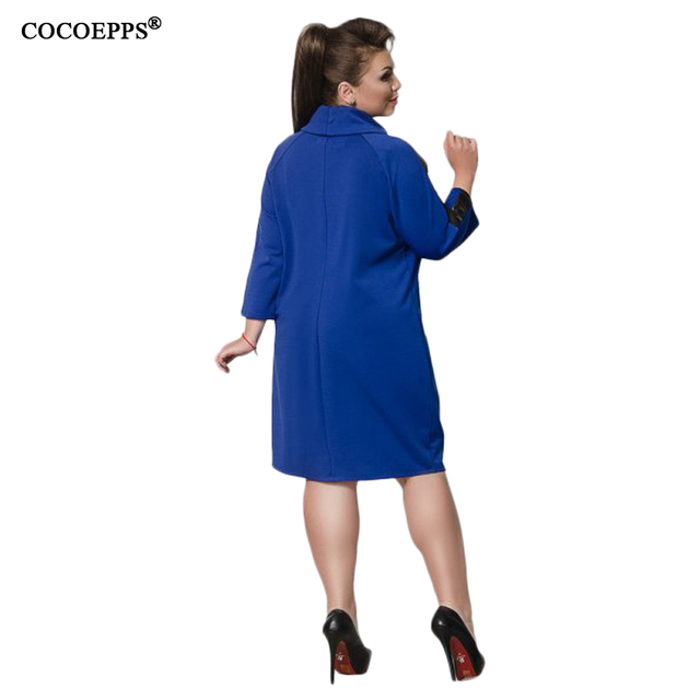 PU Lether Patchwork Warm Dress Plus Size Women Clothing 5XL 6XL Loose Dresses Large Size Turtleneck Blue Vestidos