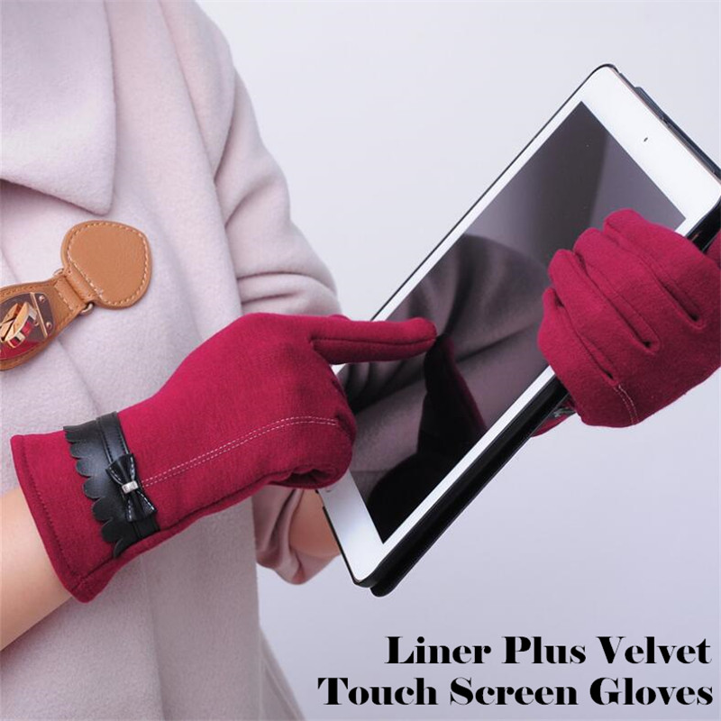 240p Women&Girl Fashion Winter Warm  Running 2-Finger Touch Screen Gloves Cycling,Plus Velvet Cotton Bow PU Leather Design