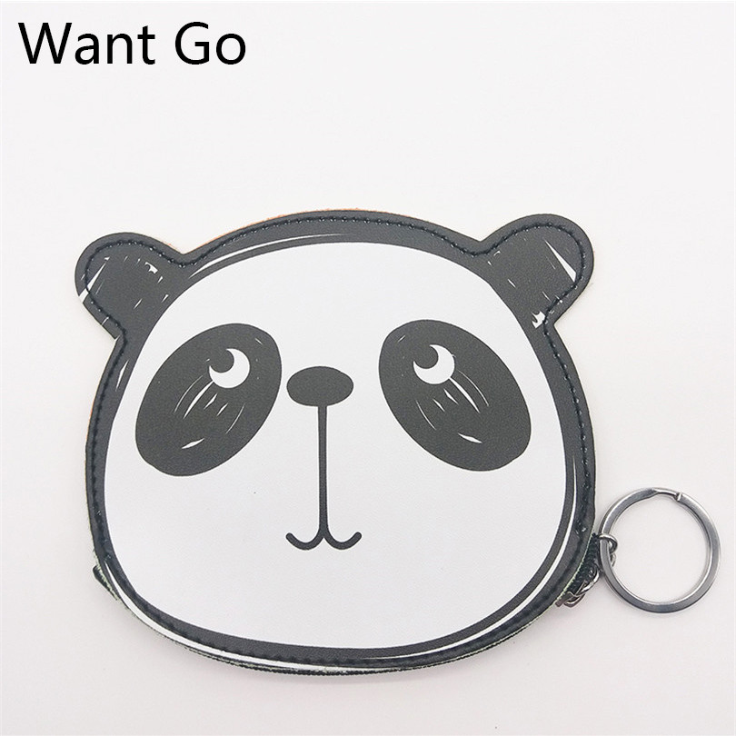 Want Go Cute Cartoon Panda Coin Purses Woman Small Coin Bag Animal Mini Pouch Zipper Leather Wallet Purse Kawaii Lady Key Bags xydyy 2017 new women coin purses or handbags cute cartoon pu leather mini pouch kawaii children wallet small bag for keys
