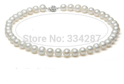 """100% Selling Picture full NATURAL AAA+ AKOYA 9-10MM WHITE PEARL NECKLACE 18""""LONG"""