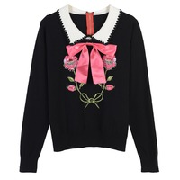 Ky Q 2017 Sweet Women Turn Down Collar Sweaters Floral Embroidery Sequin Beaded Knitted Pullovers Autumn