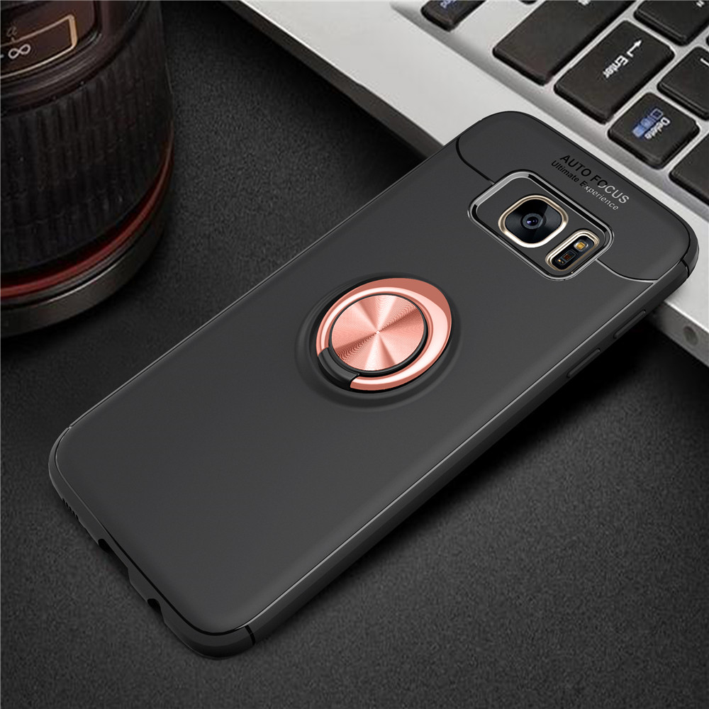For Samsung Galaxy S7 Edge Metal Magnet Car Stand Ring Grip Soft Silicone TPU Case For For Samsung S 7 Edge Slim Cover Cases samsung