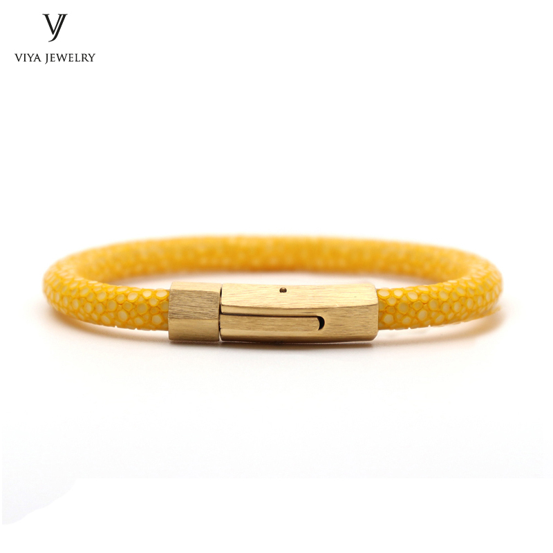 Fashion Simple Yellow Stingray Leather Bracelet With Spring Clasp Gold Color Snap Hook 6 mm Stingray Cord Bracelet For Men Women