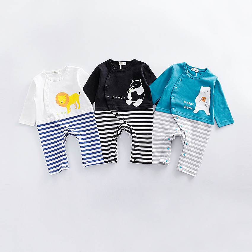 2017 Autumn Baby Clothing Long Sleeve Infant Rompers Boys Girls Striped Panda Animal Print Cotton Onesie Button Kids Clothes