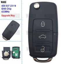 WALKLEE 433 MHz Atualizado 4D0837231N Chave Do Carro Remoto 3 Botões fit para Audi 4D0 837 231 N 231N A3 A4 A6 A8 TT Allroad RS4 Quttro