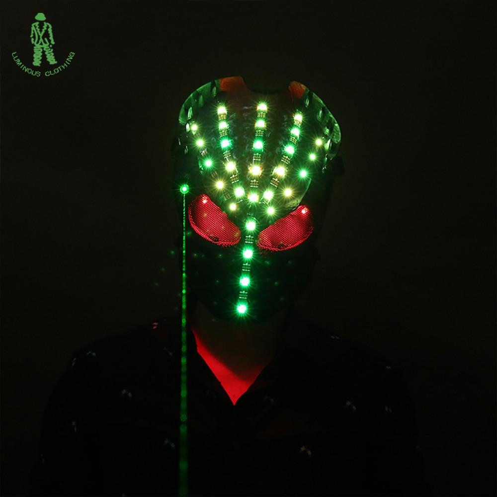Doprava zdarma Nová LED laserová maska AVP světelná maska pro Halloweenskou scénu Taneční DJ Club Disco Party Skull Mask