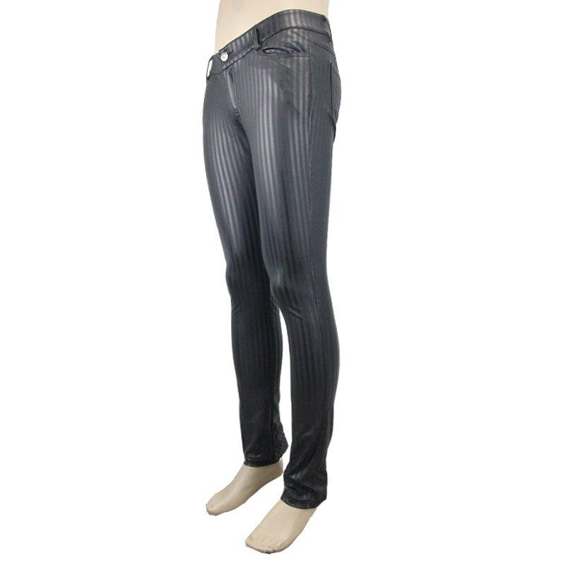 Devil moda Punk hombres pantalones ajustados Steampunk negro casual ceñido pantalones Striation Skinny Pantalones - 5