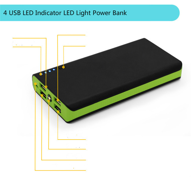 New 4USB LED Indicator 20000mah Power Bank Fast Charge Battery Pack for Mobile Phones with LED Light