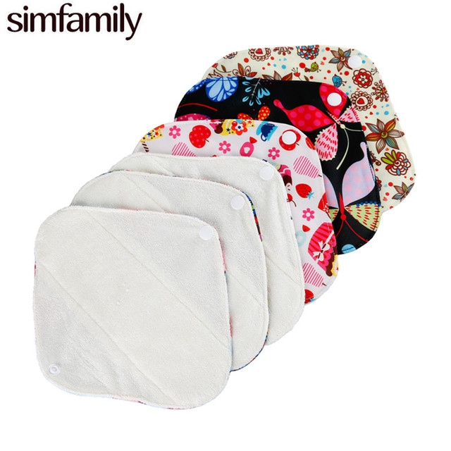 [simfamily] 10Pc Reusable  Panty liner,100% organic Bamboo Material Inner,Super Absorption,Soft And Healthy