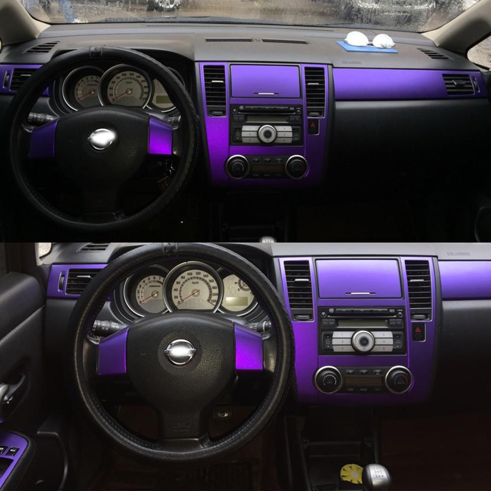 Otomobiller ve Motosikletler'ten Araba Çıkartmaları'de Nissan Tiida 2005 2010 için iç merkezi kontrol panelli kapı kolu 3D/5D karbon Fiber çıkartmalar çıkartmaları araba styling aksesuar title=