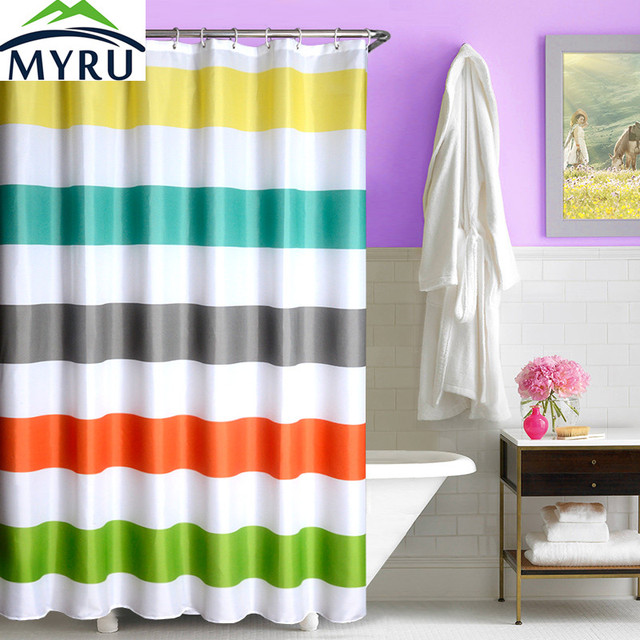 MYRU New Colorful Striped Shower Curtains Bathroom Curtain Waterproof Polyester Cool