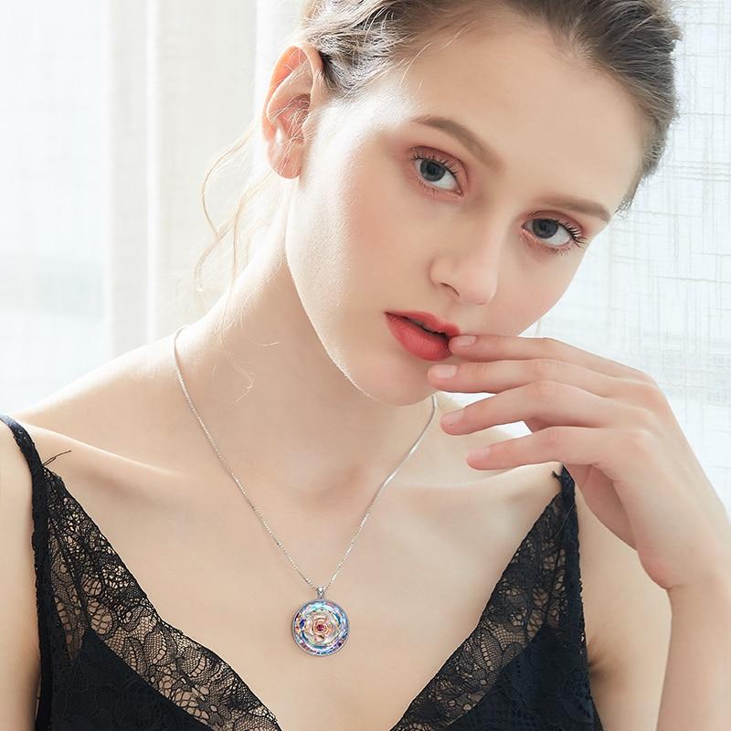 Image 5 - CDE Women Gold Necklace Embellished with crystals 18K Rose Gold  Dancing Rose Flower Pendant Mothers Day GiftNecklaces