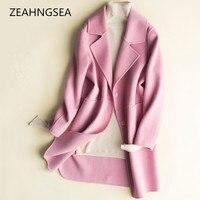 ZEHANGSEA Осенне зимняя обувь Женская шерстяное пальто 4 вида цветов европейский и американский стиль дамы шерстяное пальто Повседневные Удобн