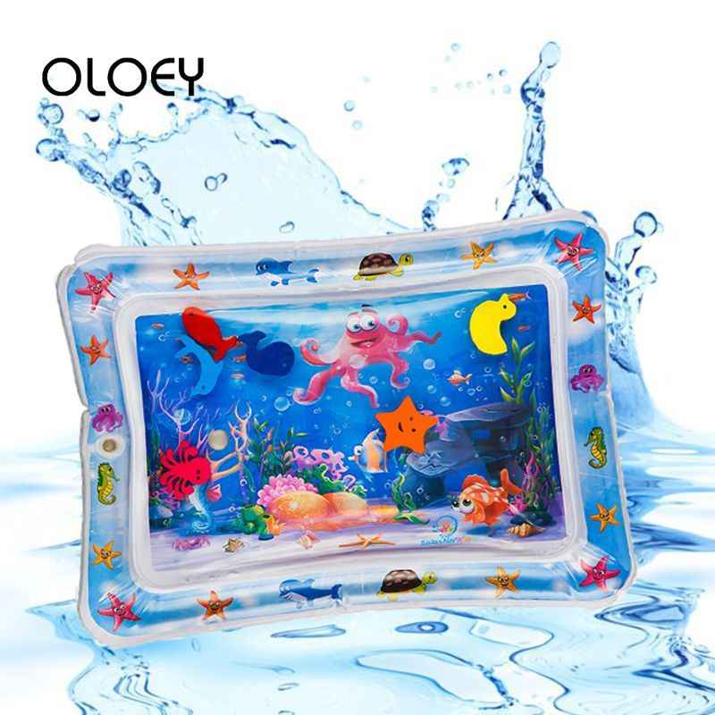 OLOEY Baby Kids Water Play Mat 3D Fish Print Inflatable Thicken PVC Infant Fun Time Play Mat Pad Toddler Activity Play Water Mat