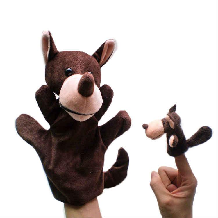 2 pz/lotto, peluche Genitore lupo burattino di mano e capretto lupo finger puppet, regalo di natale, giocattoli di peluche burattino, il trasporto libero t