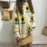 Alien Kitty Fashion Floral Sunflowers 2019 Autumn Spring Casual All Match Elegant Women Knitted Sweet Stylish Sweaters 4 Colors