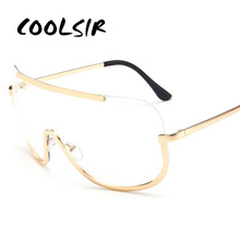 COOLSIR European & American Stylish New Sunglasses Women Men Vintage Fashion Pink Lens Gold Frame Sun Glasses Metal Eyeglasses