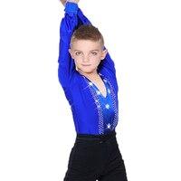 2018 Ballroom Latin Dance Shirts Men boys Kids Children Clothes For Salsa Samba Adult Competition Performance Clothing DN1580