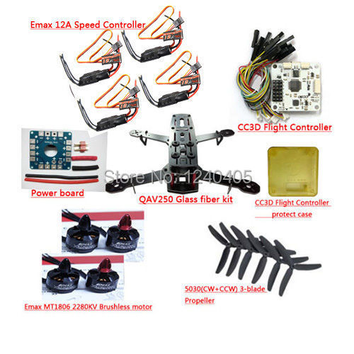 Glass fiber QAV250 Quadcopter Frame & EMAX MT1806 Brushless Motor & EMAX 12A ESC & CC3D Flight Control emax mt1806 kv2280 brushless motor for qav250