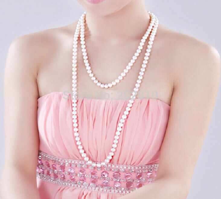 OEM,ODM factory autumn winter the latest style pearl long necklace.Many ways to wear all-match sweater pearl necklace jewelry