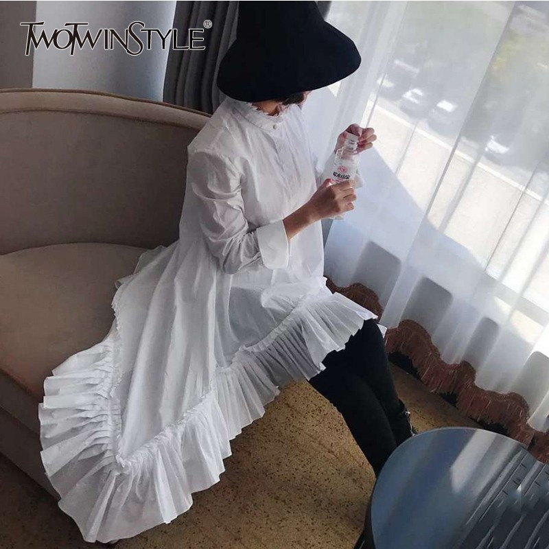 TWOTWINSTYLE Asymmetry Patchwork Ruffle Women s Shirt Blouse Long Sleeve Pleated Hem White Tops Female Autumn