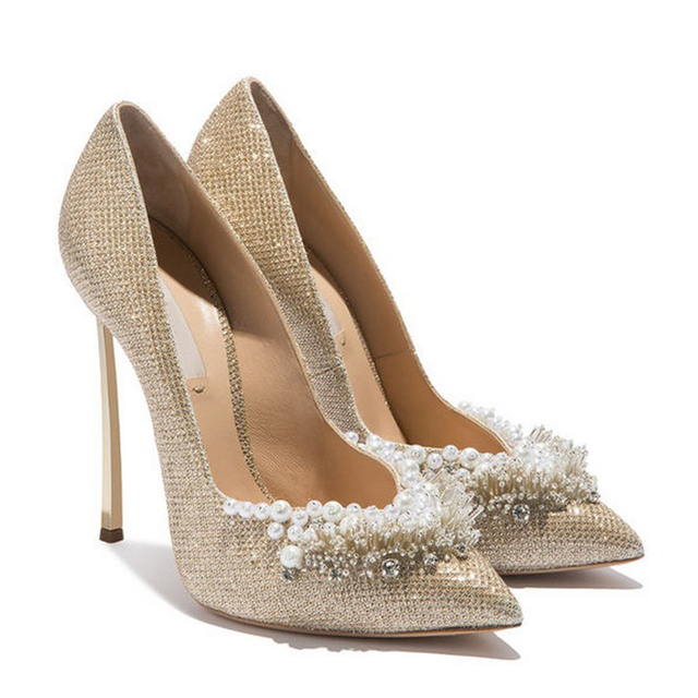 00a388cfbb US $63.99 30% OFF|Luxury Designer Shoes 2018 Pearl Diamond Bling Pointed  Toe Pumps Slip On Metallic Heels Women Wedding Shoes High Heel Gold  White-in ...