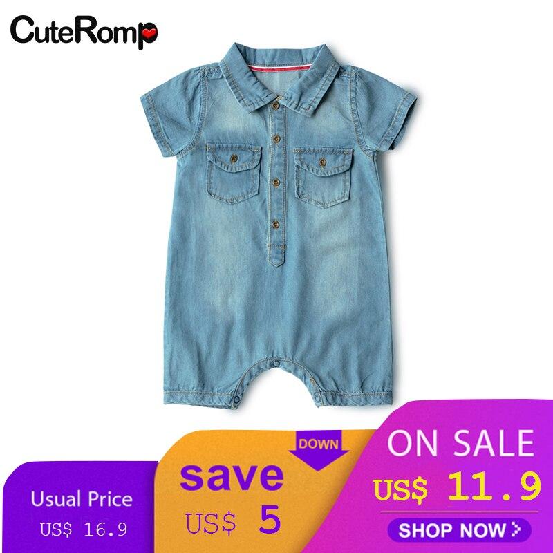 706af8a79fc3 6-24M baby boy summer clothes Denim newborn clothes cowboy baby boy romper  metal button