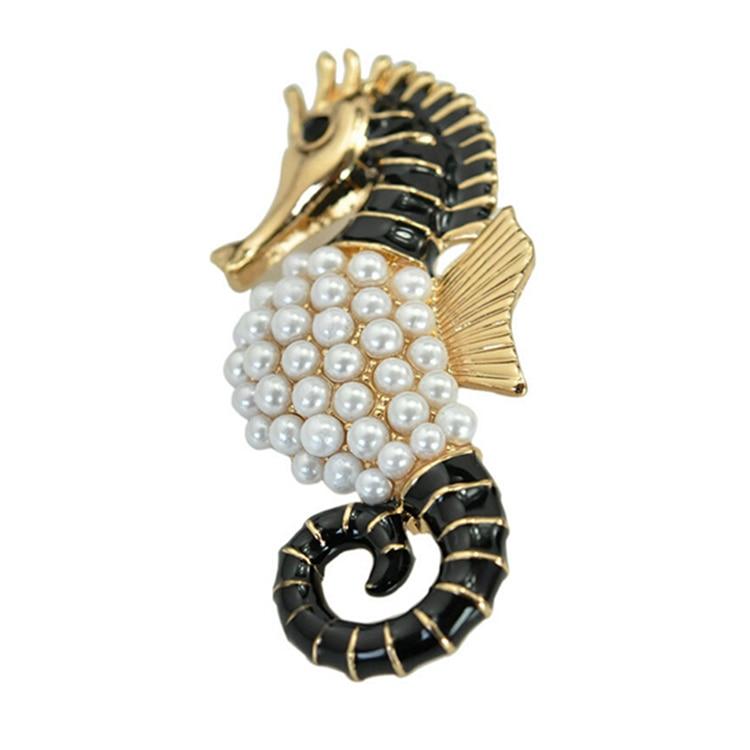 Factory price animal hippocampus brooch sea horse pearl brooch