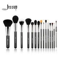 Jessup Pro 15pcs Makeup Brushes Set Powder Foundation Eyeshadow Eyeliner Lip Brush Tool Black And Silver