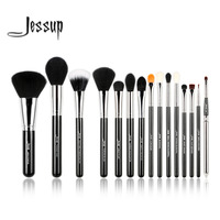 Jessup Pro 15pcs Makeup Brushes Set Powder Foundation Eyeshadow Eyeliner Lip Brush Tool Black And Silver