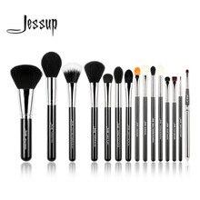 Jessup Pro 15pcs Makeup Brushes Set Black/Silver Cosmetic Make up Powder Foundation Eyeshadow Eyeliner Lip Brush Tool beauty