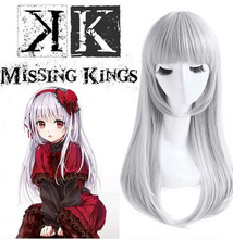 65 cm peluca cosplay del anime del pelo silver larga peluca de halloween peluca cosplay accesorios