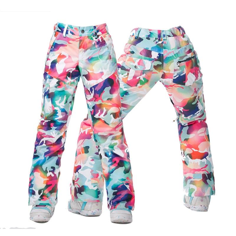 Pantalon de Ski Camouflage Orange bleu rose violet noir blanc Gsou neige femme pantalon de Ski pantalon de Ski imperméable coupe-vent 10 K