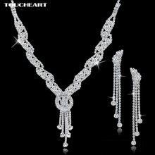 Toucheart Стразы Свадебные Ювелирные наборы серебряного цвета