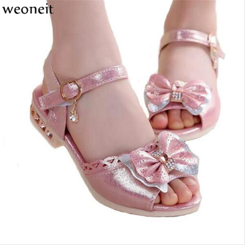 Weoneit pu leather 2017 children princess sandals kids for Girls dress shoes for wedding
