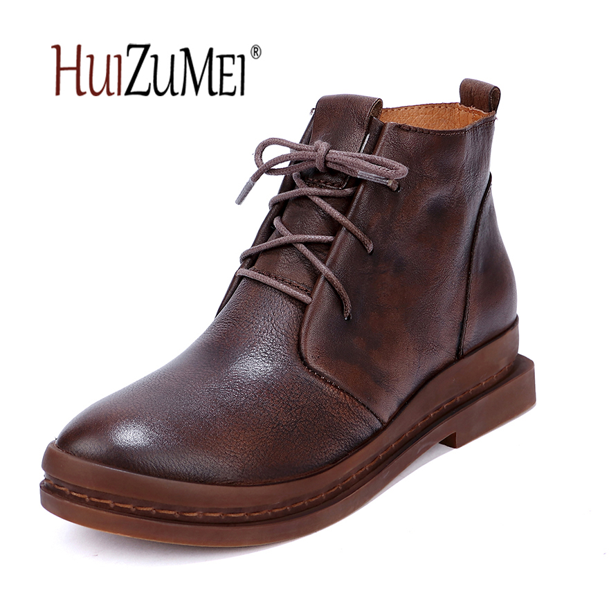 HUIZUMEI genuine leather women low heel lace up boots martin boots female mid calf round toe ladies boots motorcycle boots prova perfetto fashion round toe low heel mid calf boots feminino buckle belt thick bottom genuine leather women s martin boots