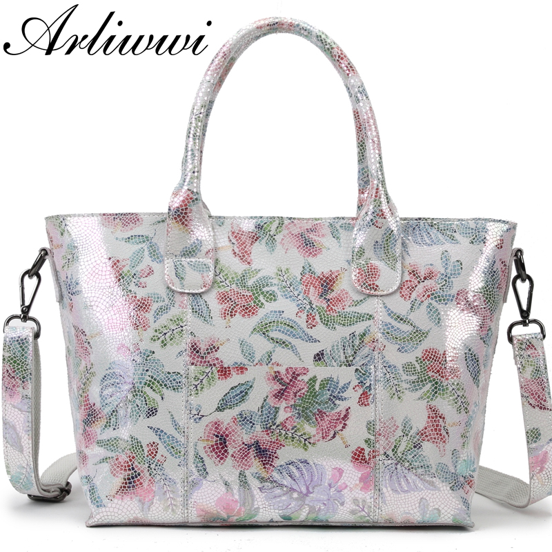 Arliwwi Brand Lady Shiny Floral 100 Real Leather Tote Handbag Shiny Summer Flower Women Genuine Cow
