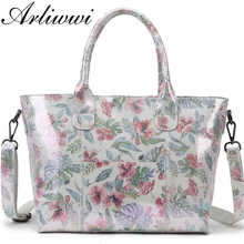 Arliwwi Brand Lady Shiny Floral 100% Real Leather Tote Handbag Shiny Summer Flower Women Genuine Cow Leather Bags New 2019 - SALE ITEM Luggage & Bags