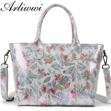 Tote Handbag Flower Designer-Bags Floral-Coating Women Lady 100%Real-Leather Genuine