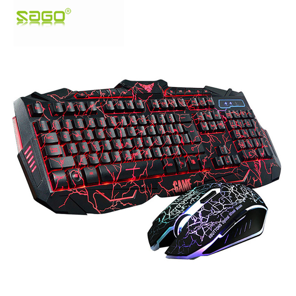 Russian Keyboard Changeable LED with Color Luminous Backlit Multimedia Ergonomic <font><b>Gaming</b></font> Keyboard and Mouse Set for Game computer