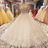 Angel Tree Champagne lace jurk baljurk lace up terug korte mouwen uit de schouder bruidsjurk jurken real foto