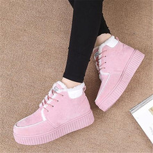 MVP BOY Winter Female Plus Velvet Shoes Snow Platform Boots Women Thermal Cotton-padded Flat Warm Ankle Beige Pink