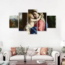 Laeacco Canvas Calligraphy Painting Classic Mother and Baby Posters Prints Vintage Wall Art Living Room Decoration Home Decor